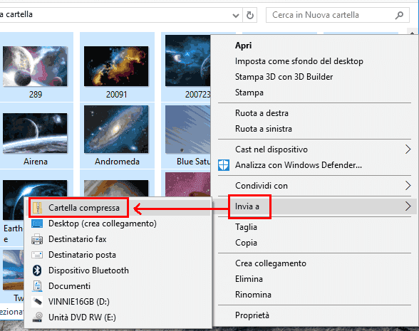 Windows 10 creare file ZIP da menu contestuale del mouse