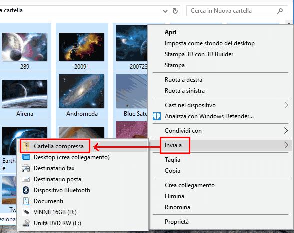 Windows 10 creare file ZIP da menu contestuale del mouse