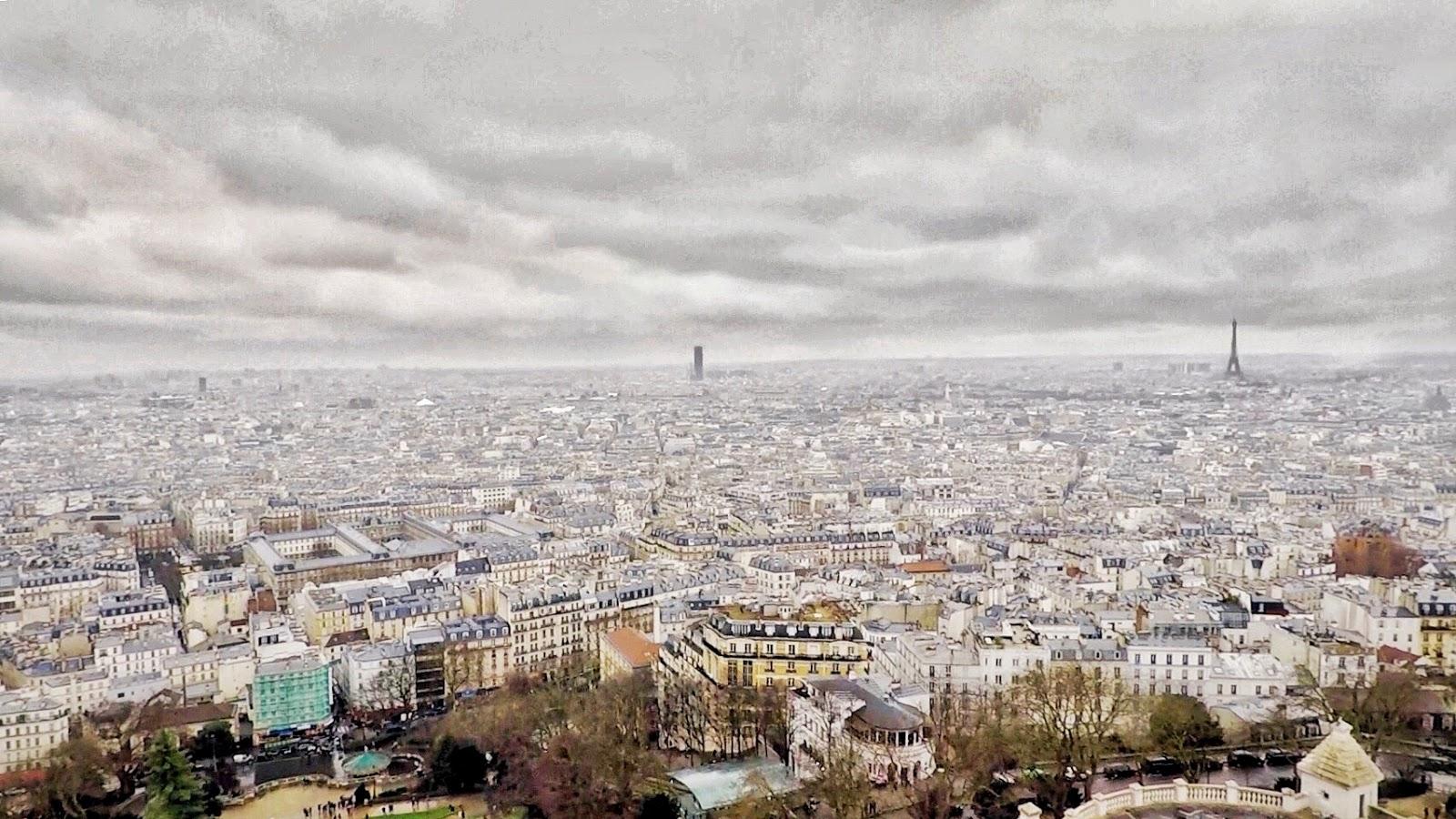 Sacré-Cœur, views, Paris views, Paris in winter, rainy day in Paris, Cloudy day in Paris