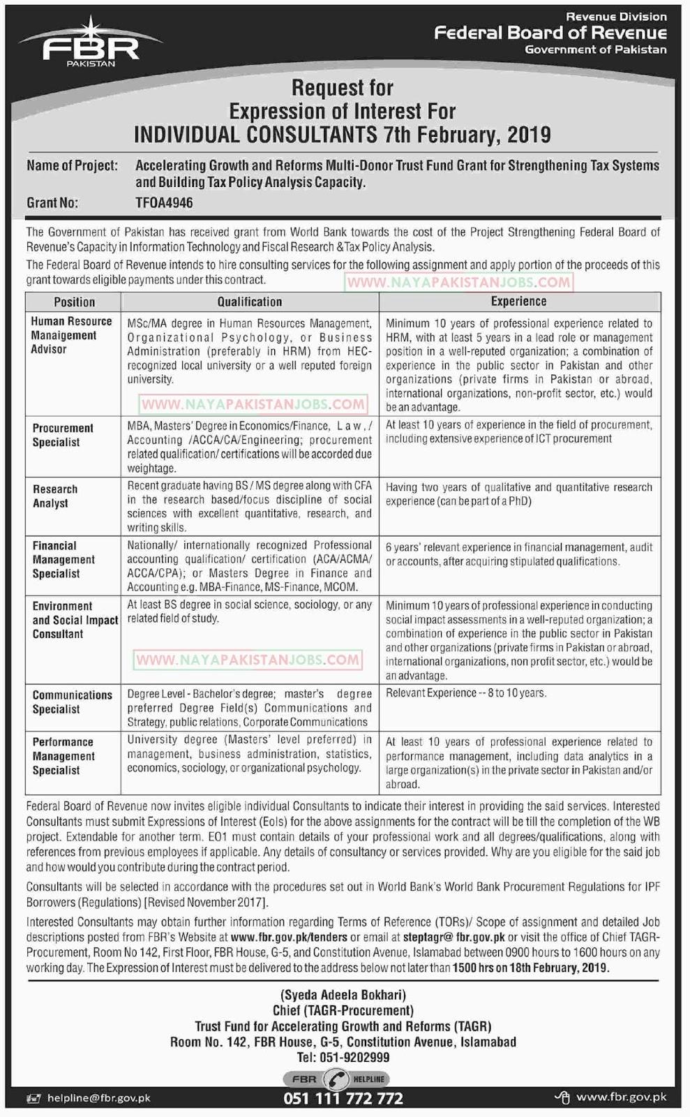 FBR Jobs, FBR Jobs Govt of Pakistan , FBR Jobs 2019 Feb | Federal Board Of Revenue Jobs