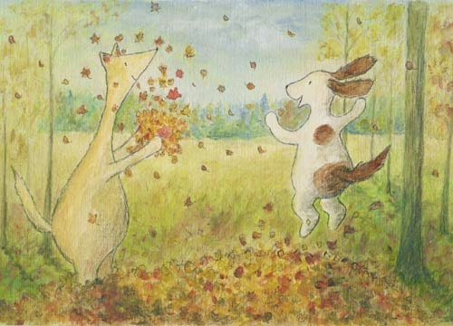 Postcard illustration of Hulmu Hukka and Haukku Spaniel playing with leaves in autumn