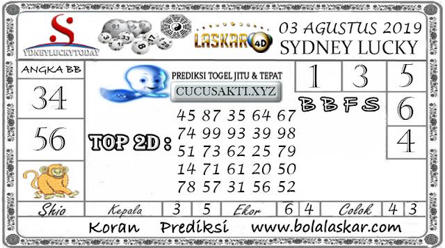 Prediksi Togel Sydney Lucky Today LASKAR4D 03 AGUSTUS 2019