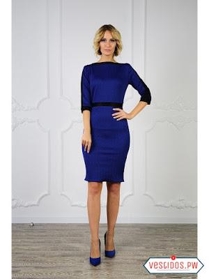 vestidos color azul con manga