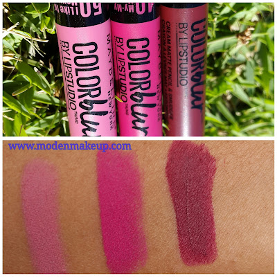 Maybelline Color Blur by Lip Studio Cream Matte Pencils swatches www.modenmakeup.com