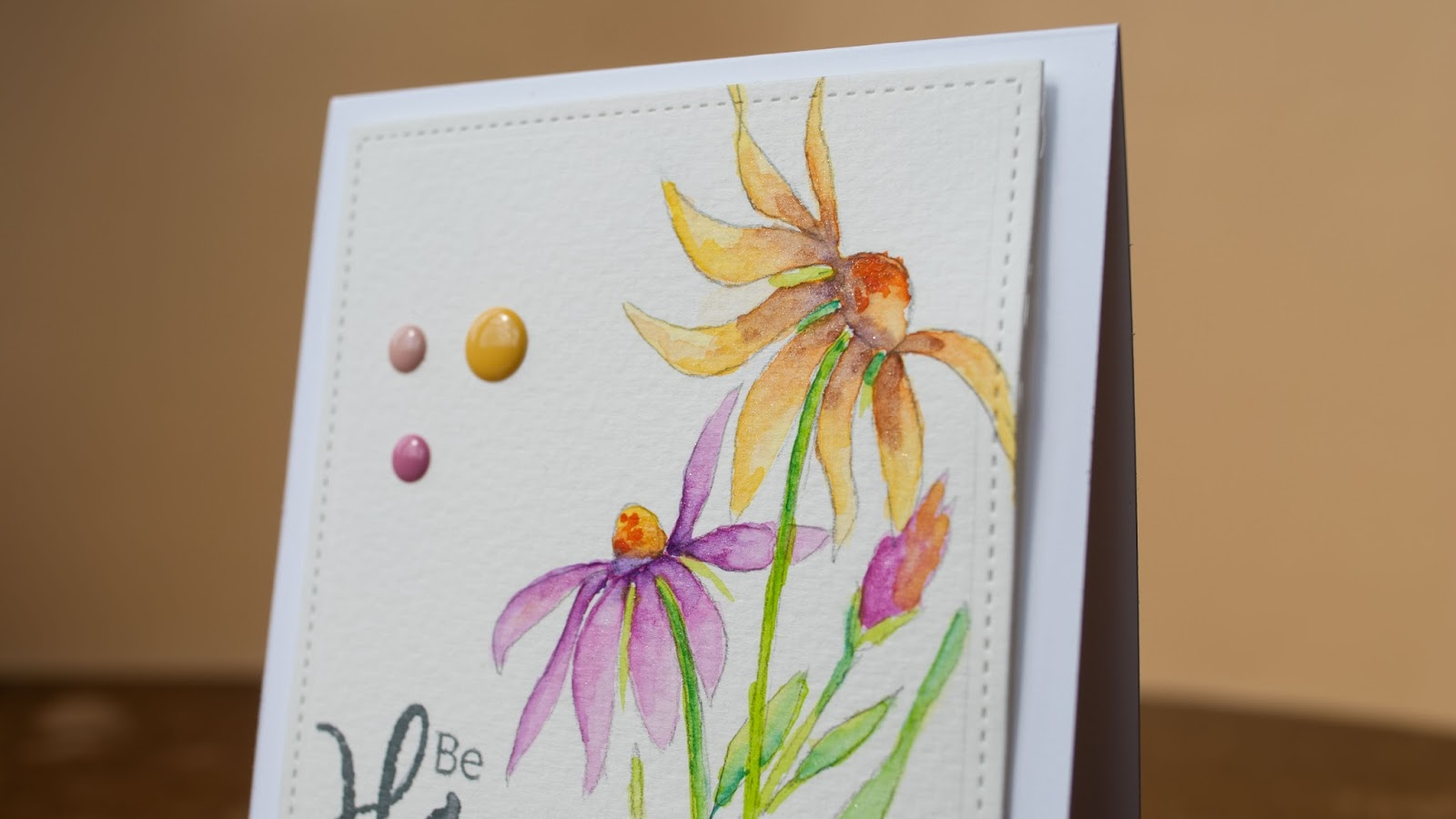 watercolor card be happy, cone flowers hand drawn finished project flower detail