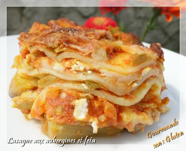 Lasagnes aubergine feta, sans gluten