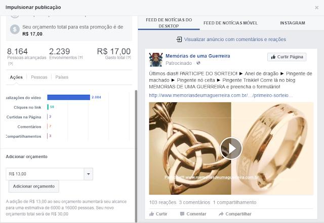 Dados do sorteio antes e depois do impulsionamento do facebook
