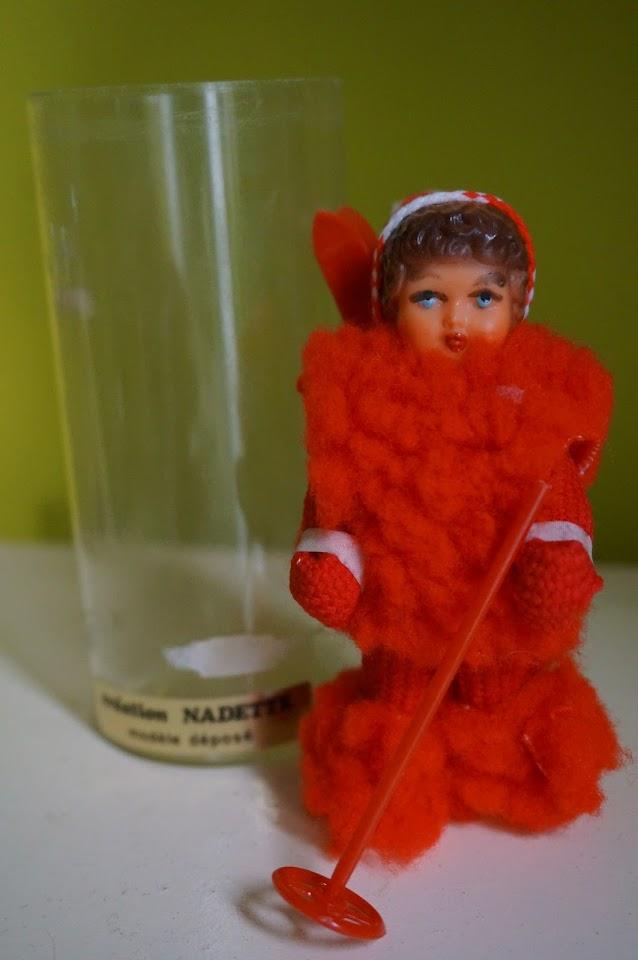 vintage skier doll souvenir ski poupée retro 1970s 70s