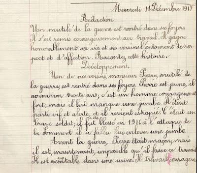 Cahier spécial de devoirs mensuels librairie classique Paul Boyer à Chalon-sur-Saône, cours supérieur de fille, élève Hélène T., 1917