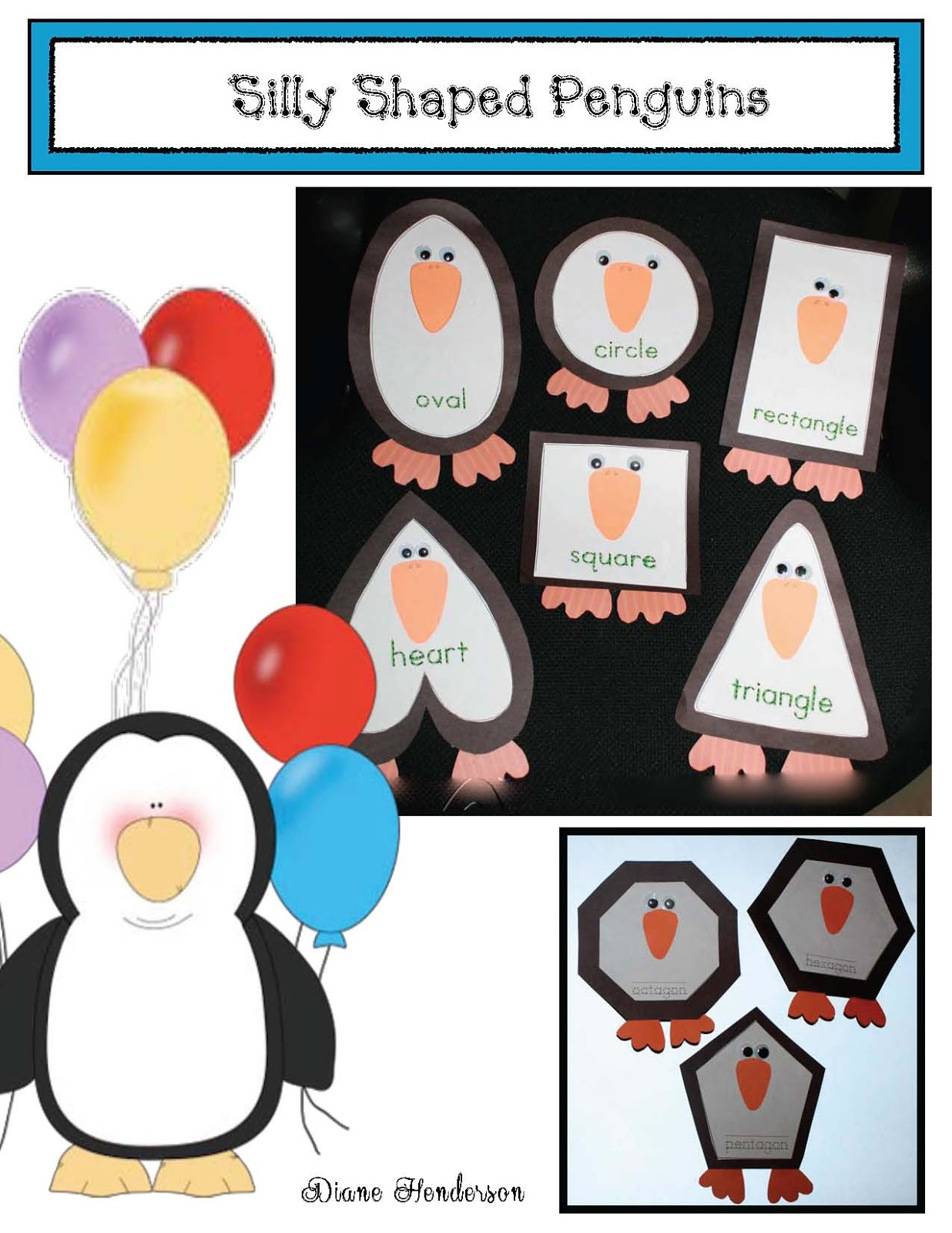 Classroom Freebies Silly Shaped Penguins 2d Shape Craft