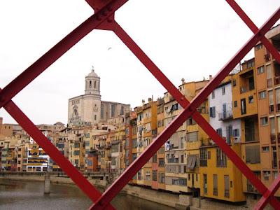 Girona cathedral from El Pont de les Peixateries Velles