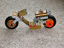 Meccano model motorcycle built