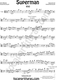 Viola Partitura de Superman Sheet Music for Viola Music Score