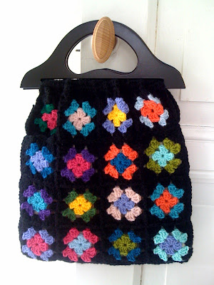 bag, crochet, granny square, black with colours, vintage