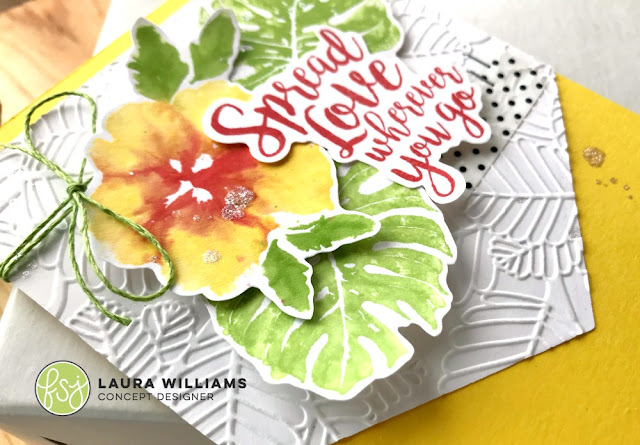 handmade card featuring In The Tropics and Spread Love Stamp Sets, as well as Fiddle Leaf Embossing Folder, all part of the RSVP Collection from Fun Stampers Journey, created by Laura Williams #funstampersjourney #lauralooloo #handmadecards #FSJRSVP