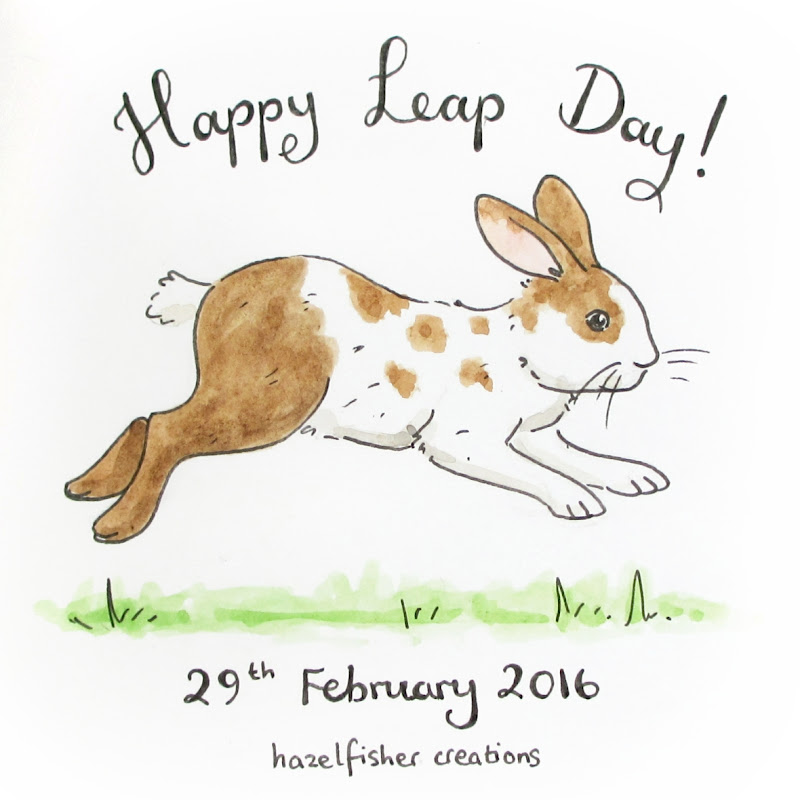 Happy Leap Day sketchbook page rabbit drawing hazelfishercreations