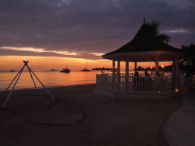 sunset and gazebo