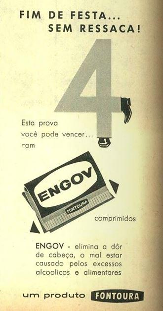 Propaganda do Engov no começo dos anos 60 apresentando a sua utilidade para acabar com os males do consumo do álcool