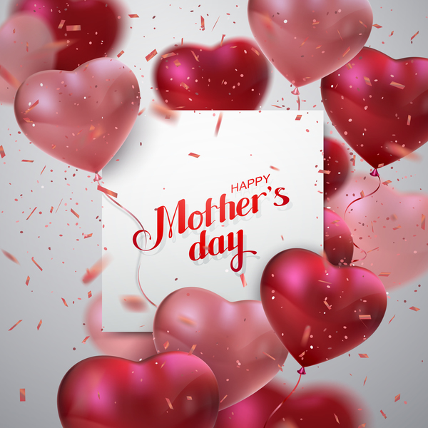 Mothers day card with heart shape balloons free vector
