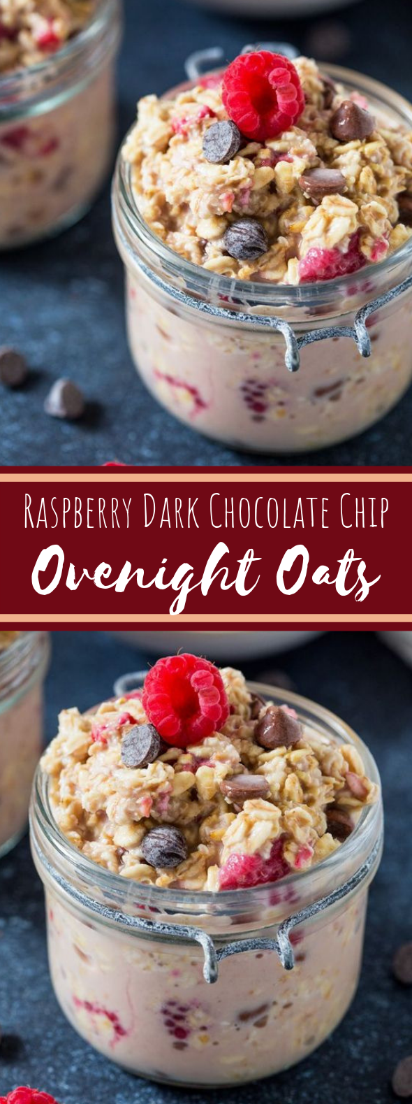 Raspberry Dark Chocolate Chip Overnight Oats #breakfast #healthy