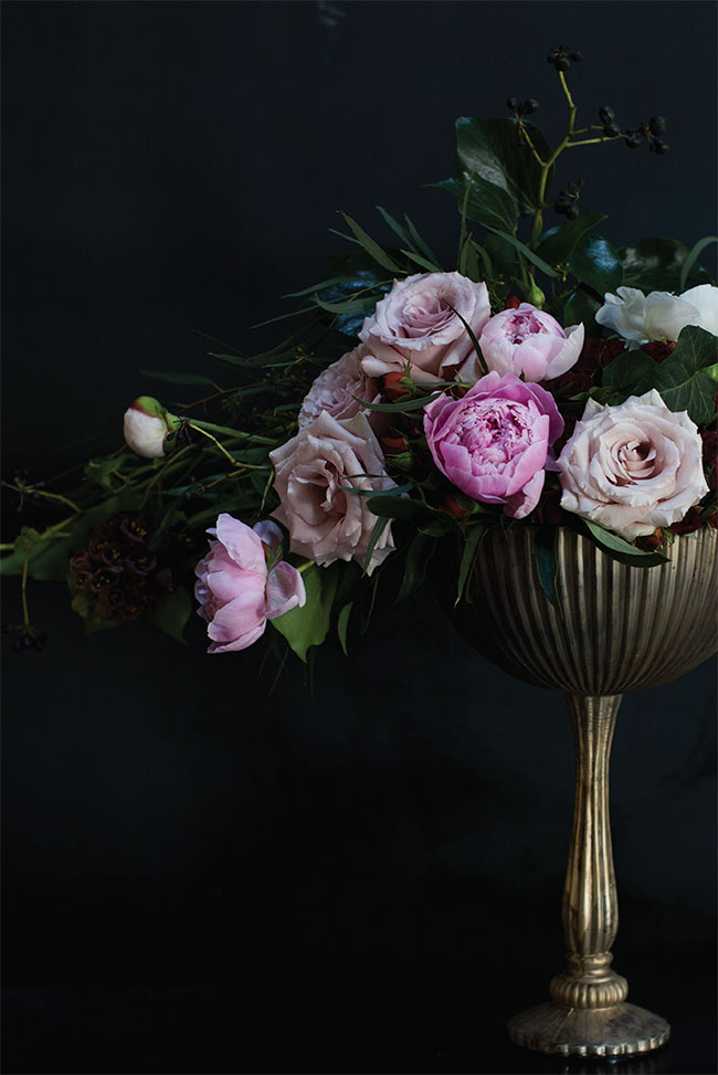 Baroque inspired flower arrangement in the venice compote by Accent Decor