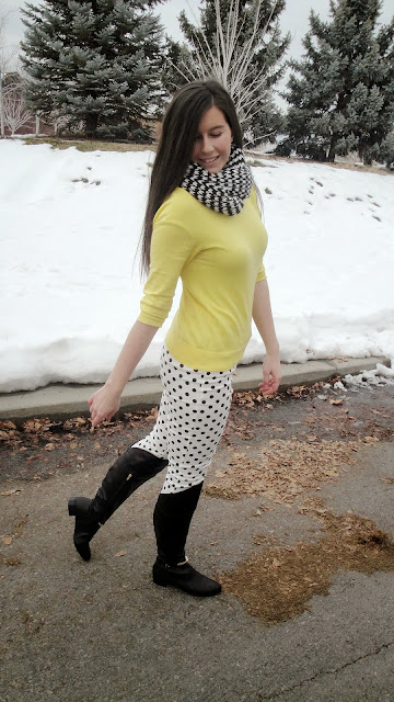 polka dot, polka dot jeans, polka dot pants, marc fisher, marc fisher boots, over the knee boots, yellow sweater, chevron scarf, ootd, winter outfit,