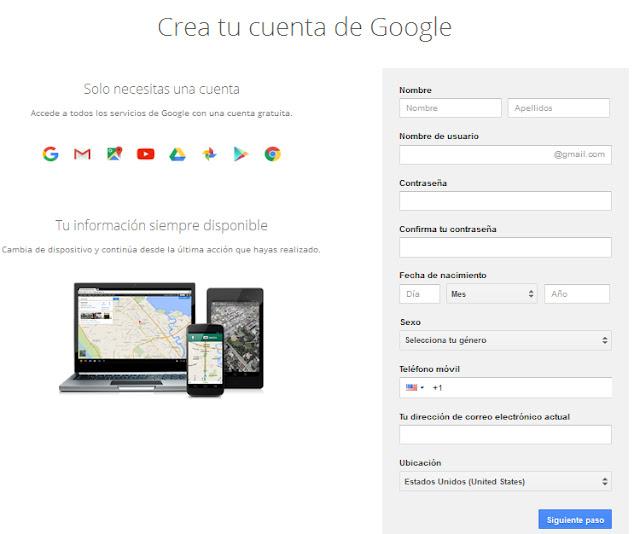 crear nueva cuenta de correo gmail