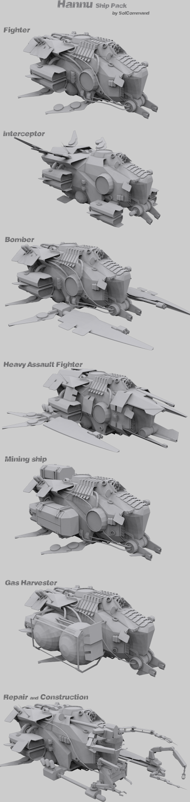 wip, ship, pack, collection, work in progress, solcommand, fighter, bomber, interceptor, heavy, assault, ship, space, spaceship,   scifi, custom, original, download, free, 3d model, mesh, texture, transport, cargo, troop, mining, miner, gas, harvester, harvest,   asteroid, gas cloud, repair, scuttle, salvage, crew, small, low poly, game ready, indie, game dev, set, construction, stealth,   awacs, fleet, command, field, scout, tactical, rts, tbs