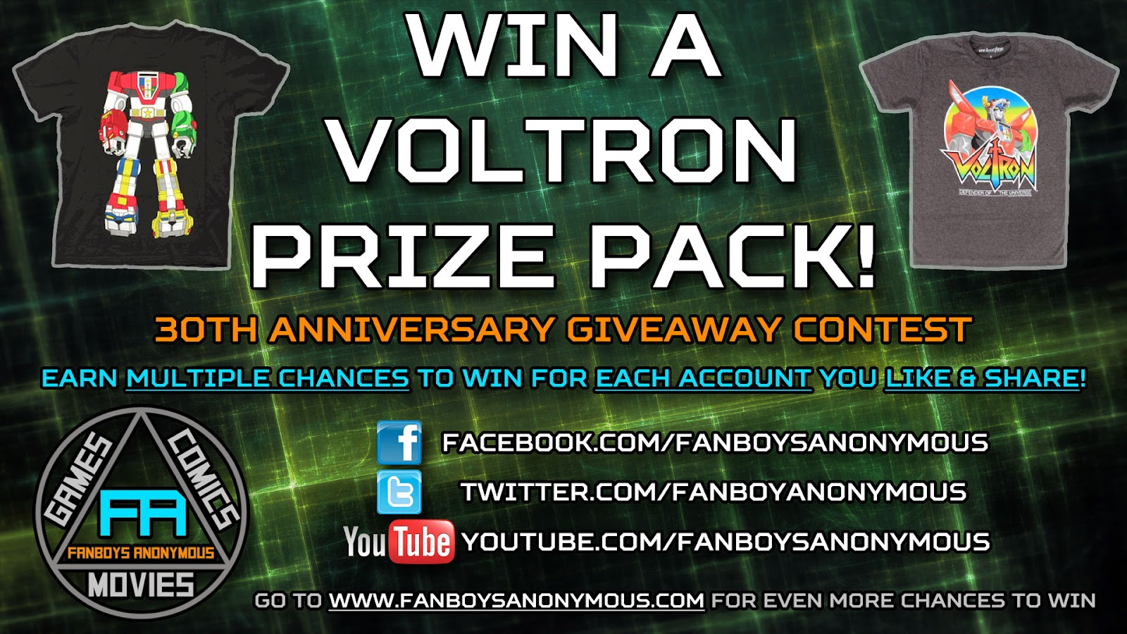 win a free Voltron t-shirt 30th anniversary contest