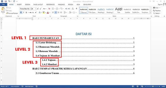Cara membuat Daftar Isi Otomatis Di Microsoft Word secara otomatis