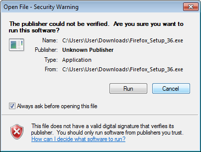 Security Warning when running a windows executable that was not properly signed.