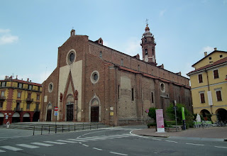 The early 15th century Cathedral of the Assumption in Piazza Risorgimento in Saluzzo