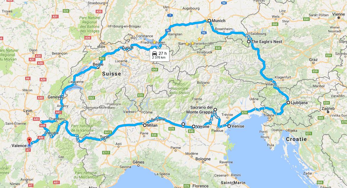 Vivre l'international: Vacances 2016 - La boucle des Alpes