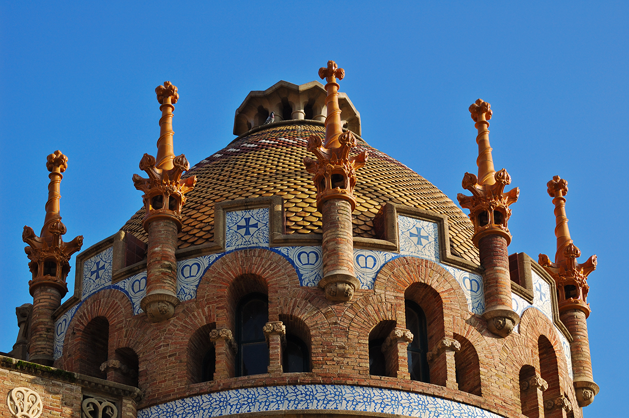 Tiled Cupola at Modernista complex in former Hospital de la Santa Creu i Sant Pau, Barcelona