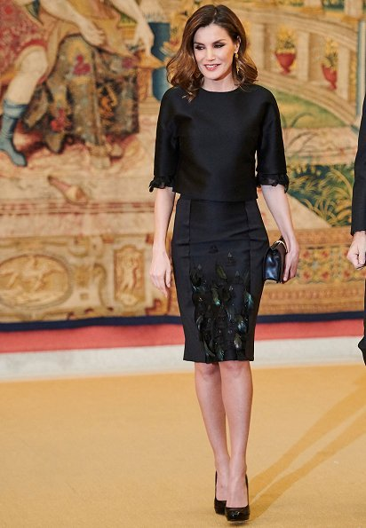 Queen Letizia wore Carolina Herrera Dress from Pre Fall 2015 Collection and carried Carolina Herrera clutch bag, Letizia wears Hugo Boss pumps