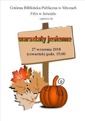 Plakat informujący o warsztatach plastycznych 27 września 2018 roku