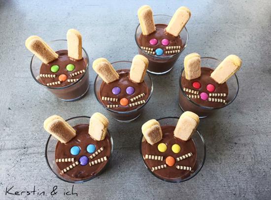 Ostern Nachtisch Kinder kreativ Schokoladenpudding