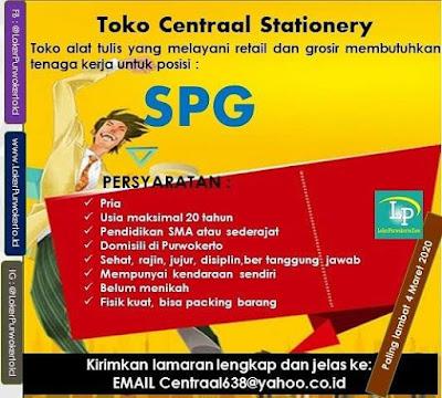 Info Loker Toko Centraal Stationery Purwokerto Februari 2020