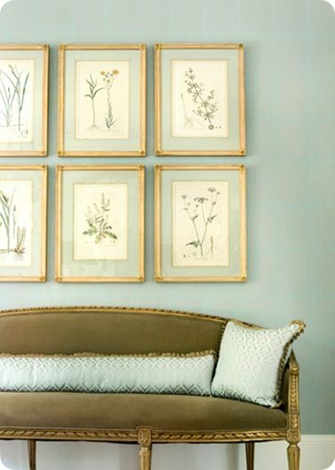 botanicals vintage gold frames gallery wall over sofa