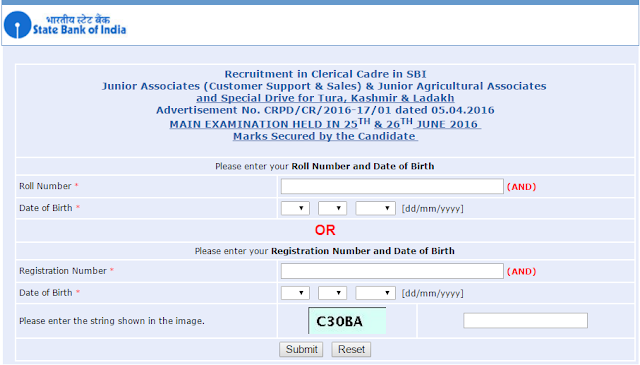 SBI Junior Associates 2016 Mains Exam ScoreCard (Marks) out
