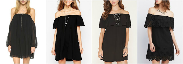 One of these off the shoulder dresses is from MISA for $150 and the other three are under $26. Can you guess which one is the more expensive dress? Click the links below to see if you are correct!