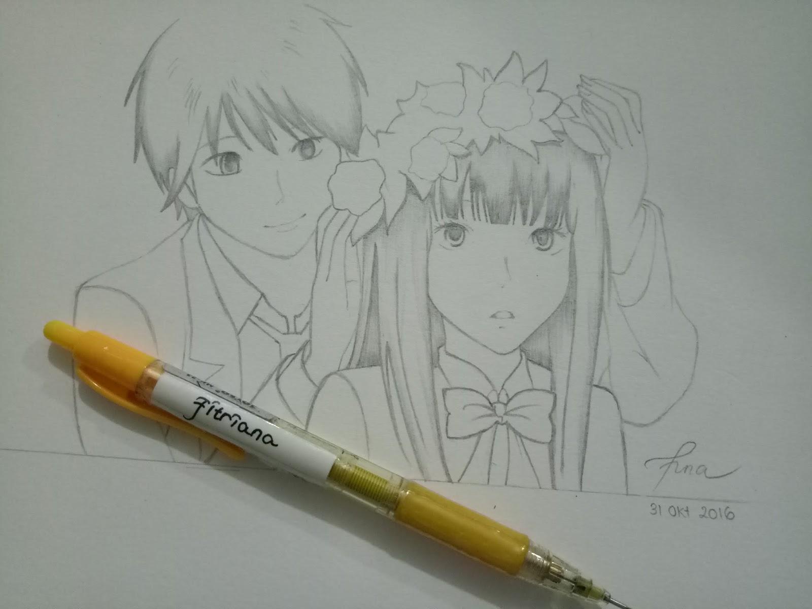 Lukisan pensil anime