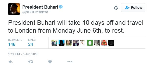 I will travel to London on Monday due to ear infection - Buhari tweets