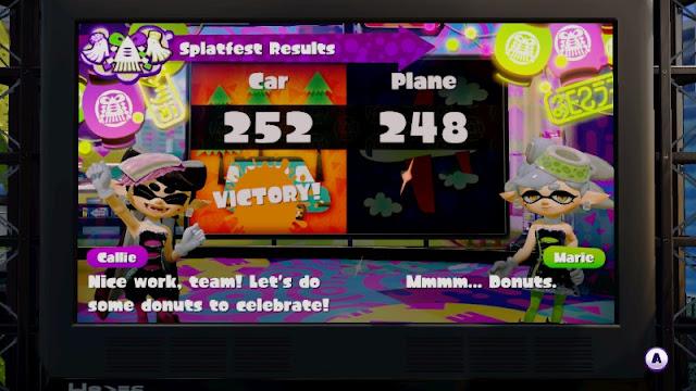 Splatoon Splatfest Cars vs. Planes travel Callie do some donuts to celebrate
