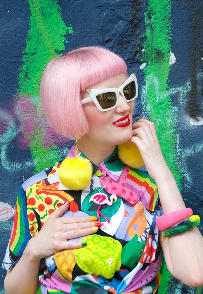 pom pom earrings, pink hair, rainbow style