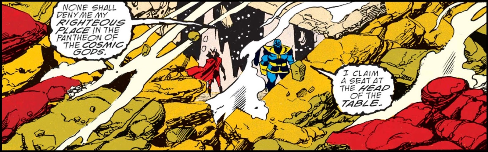 'None shall deny my righteous place in the pantheon of the cosmic gods,' Thanos says to Mephisto
