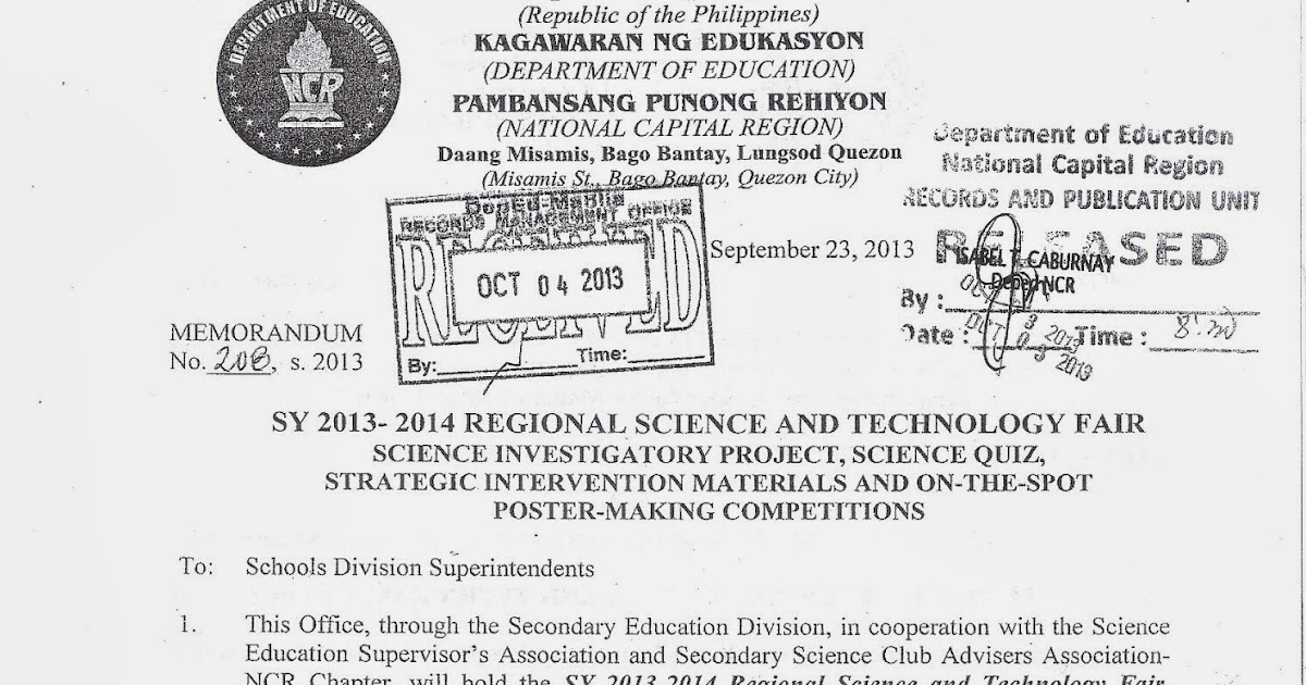 Department of Education Manila: Regional Memorandum No