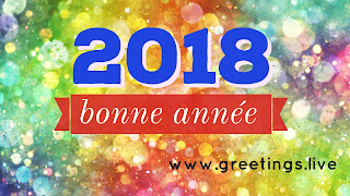 Multi colour Sparkling French New year wishes bonne année 2018