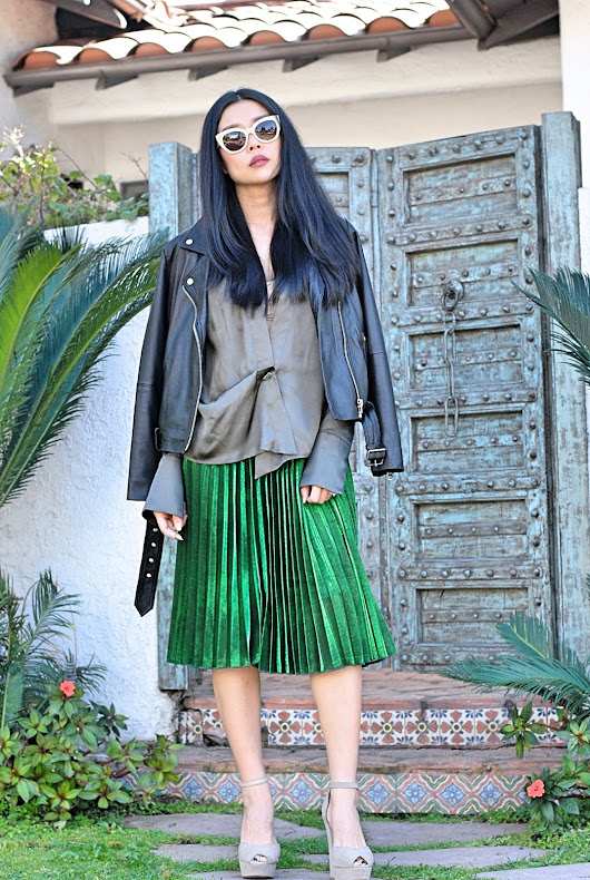 Office Style | Leather and Pleats