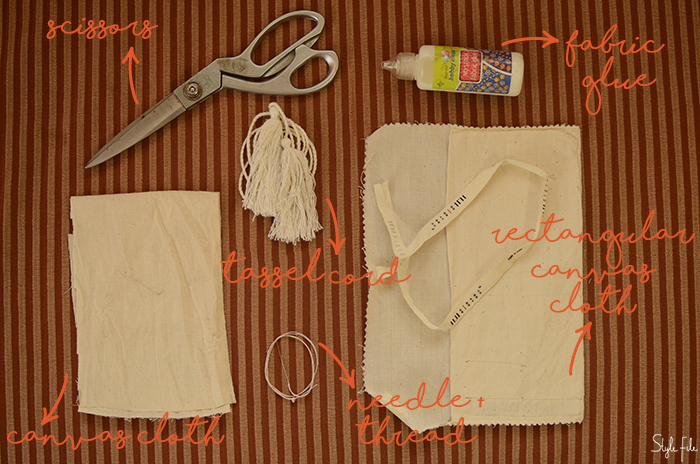An image of materials and tools needed for a do-it-yourself mini crossbody sling bag project on Style File